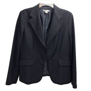Ann Taylor Navy Pinstripe Two Button Blazer Sz 10